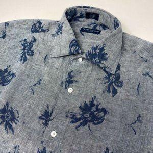 Indigo Denim 100% Linen Short Sleeve Floral Shirt